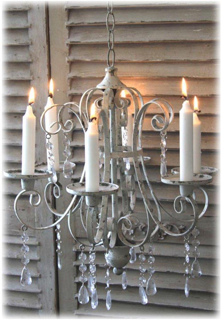 Kronleuchter l ster landhaus vintage kerze h ngeleuchte lampe antik shabby eisen ebay - Kronleuchter landhaus ...