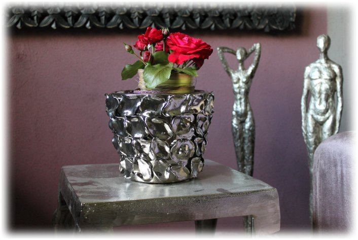 bertopf silber metall blumentopf vase antik vintage landhaus tischvase shabby ebay. Black Bedroom Furniture Sets. Home Design Ideas