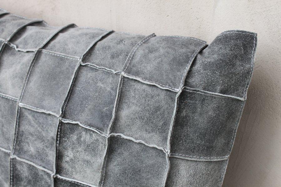 60x60 leder kissen grau wohnkissen sofakissen couchkissen dekokissen zierkissen. Black Bedroom Furniture Sets. Home Design Ideas