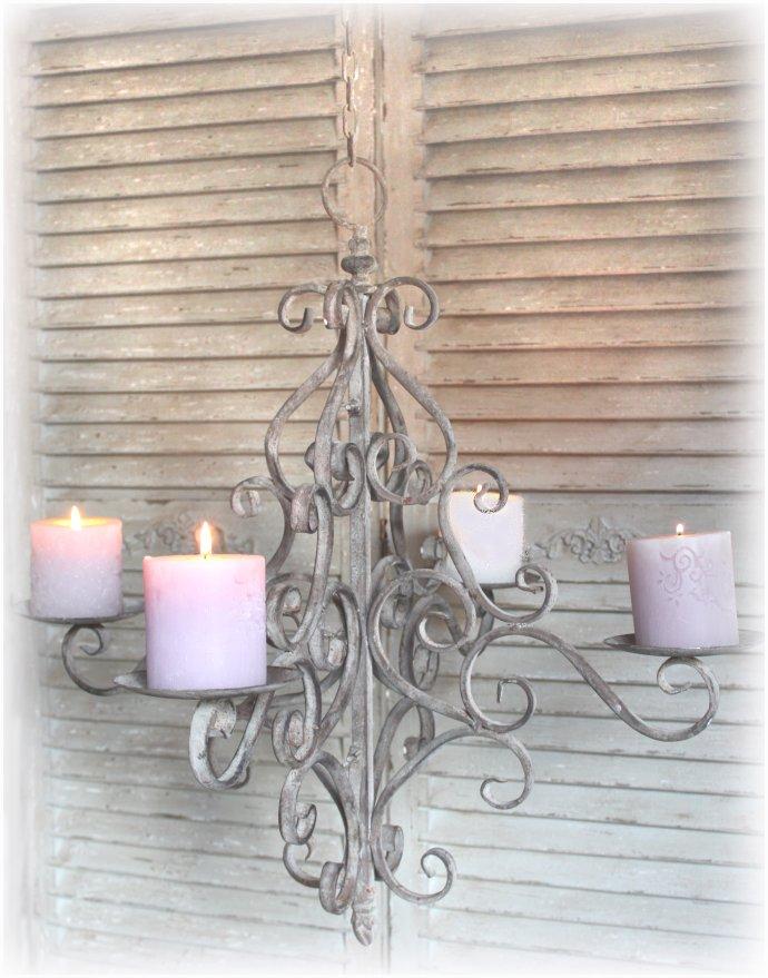 kronleuchter l ster lampe shabby kerzenkronleuchter landhaus vintage rost eisen ebay. Black Bedroom Furniture Sets. Home Design Ideas