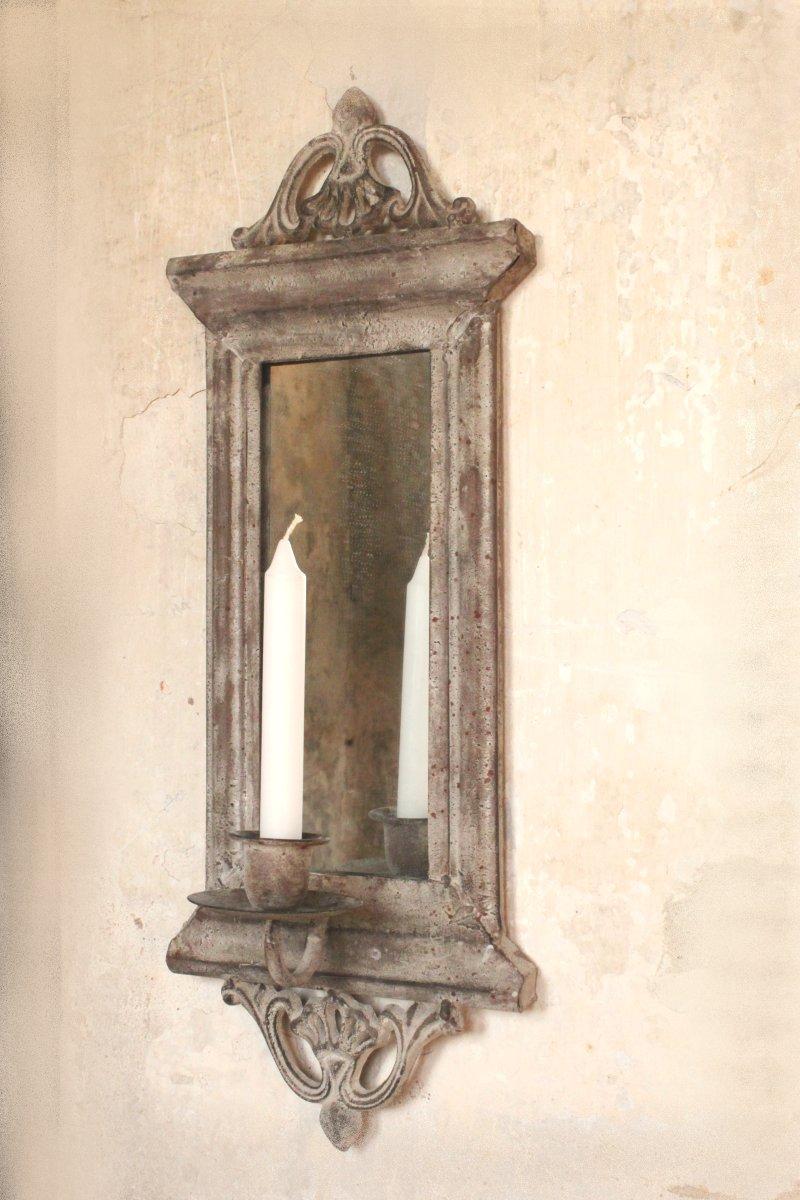 spiegel wandkerzenleuchter wandkerzenhalter antik metall shabby landhaus ebay. Black Bedroom Furniture Sets. Home Design Ideas
