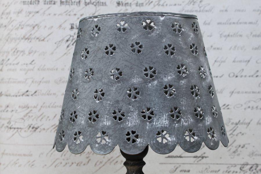 zink lampe tischlampe metall nachttischlampe antik shabby vintage landhaus grau ebay. Black Bedroom Furniture Sets. Home Design Ideas